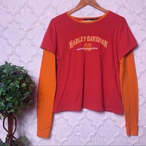 Harley-Davidson Red Orange Layered Tee Shirt